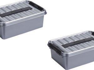 2x stuks sunware Q-Line opbergboxen/opbergdozen 4 liter 30 x 20 x 10 cm kunststof - Praktische opslagboxen - Opbergbakken