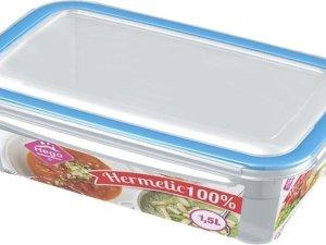 3x Voorraad/vershoudbakjes 1,5 liter transparant plastic/kunststof - Kiev - Luchtdicht/hermetisch afgesloten vershouddoos bakje - Mealprep - Maaltijden bewaren