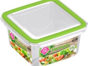 3x Voorraad/vershoudbakjes 1,5 liter transparant/groen plastic/kunststof - Kiev - Luchtdicht/hermetisch afgesloten vershouddoos bakje - Mealprep - Maaltijden bewaren
