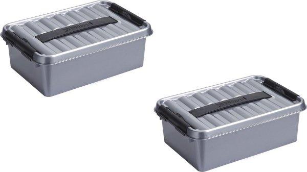 4x stuks sunware Q-Line opbergboxen/opbergdozen 4 liter 30 x 20 x 10 cm kunststof - Praktische opslagboxen - Opbergbakken