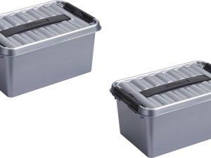 4x stuks sunware Q-Line opbergboxen/opbergdozen 6 liter 30,7 x 20 x 14 cm kunststof - Praktische opslagboxen - Opbergbakken