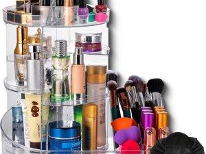 Aryos Draaiende Make up organizer met Make up tasje-12 vakken- Cosmetica Opbergbox-Transparant
