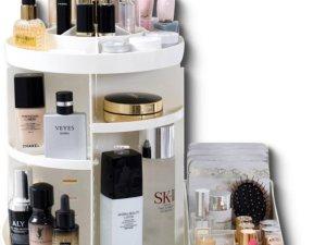 Aryos Draaiende Make up organizer met Make up tasje-12 vakken- Cosmetica Opbergbox-Wit