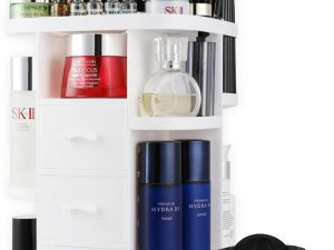 Aryos Draaiende Make up organizer met Make up tasje-3 Lades- Cosmetica Opbergbox-Wit