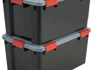 IRIS Airtight Opbergbox - 50L - 2 stuks - Zwart/Rood