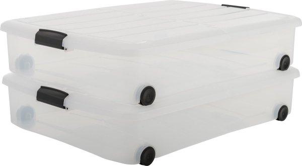 IRIS Clearbox Opbergbox - 2x 50L - Wieltjes - Transparant