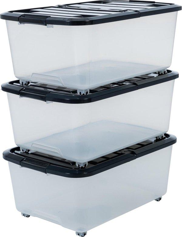 IRIS Rollerbox Opbergbox - 3x 40L - Klapdeksel - Transparant/Zwart