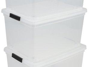 Iris Ohyama New Carry Stocker Rollerbox - Opbergbox - 50 l - Transparant/Zwart - Wieltjes - Set van 3