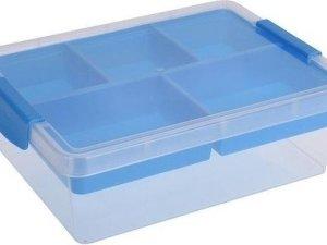 Opbergbox/sorteerdoos 5-vaks tray blauw 33 cm - Naaigerei opbergen - Opbergers