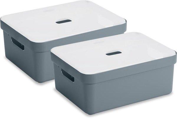 Sunware Sigma Home Opbergbox - 24L - 2 Stuks - Blauwgrijs