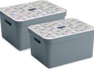 Sunware Sigma Home Opbergbox - 32L - 2 Stuks - Blauwgrijs/Triangel