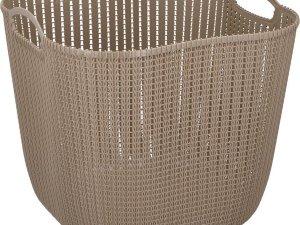 Taupe kunststof wasmand 47 liter - Wasmanden/wasgoedmanden - Huishoudelijke producten/artikelen - Huishouden