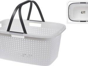 Witte wasmand met handvatten 60 cm - Draagwasmanden - Wasgoedmand - Mand met handvatten 35 liter