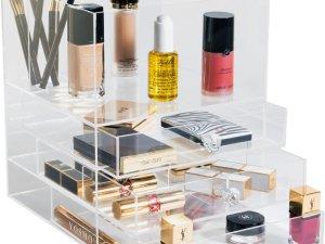 YOSMO Block - Make up organizer - H27xB23xL23 cm - Clear Acryl - Make up opbergbox - Make up opbergen - opbergsysteem - transparante organizer - Interieur - Visagie - Make up kwasten