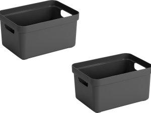2x stuks antraciet grijze opbergboxen/opbergdozen/opbergmanden kunststof - 13 liter - opbergen manden/dozen/bakken - opbergers