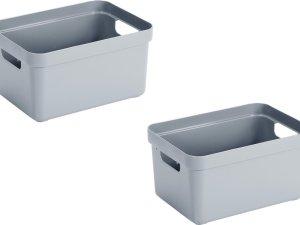 2x stuks blauwgrijze opbergboxen/opbergdozen/opbergmanden kunststof - 13 liter - opbergen manden/dozen/bakken - opbergers