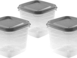 3x Voorraad/vershoudbakjes 0,3 liter transparant/grijs plastic/kunststof - 9 x 9 x 11 cm - Palermo - Vershouddoos bakje - Mealprep - Maaltijden bewaren