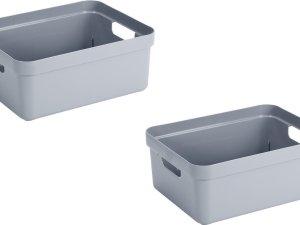4x stuks blauwgrijze opbergboxen/opbergdozen/opbergmanden kunststof - 24 liter - opbergen manden/dozen/bakken - opbergers