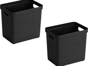 4x stuks zwarte opbergboxen/opbergdozen/opbergmanden kunststof - 24 liter - opbergen manden/dozen/bakken - opbergers