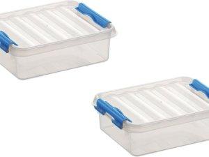 5x stuks sunware Q-Line opbergboxen/opbergdozen 1 liter 20 x 15 x 6 cm kunststof - Platte opslagboxen