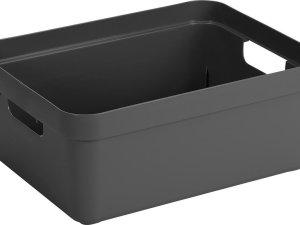 Antraciet grijze opbergboxen/opbergdozen/opbergmanden kunststof - 24 liter - opbergen manden/dozen/bakken - opbergers