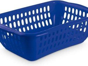 Blauwe wasmand 35 liter 56 x 37,5 x 17,5 cm - Kunststof/plastic draagmand - De was doen huishoudartikelen - Wasmanden/wasgoedmanden