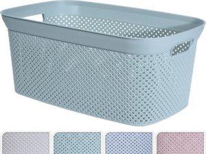 Blauwe wasmanden 35 liter 54 x 34 x 23 cm - Kunststof/plastic draagmand - De was doen huishoudartikelen - Wasmanden/wasgoedmanden
