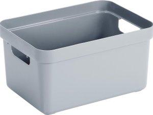 Blauwgrijze opbergboxen/opbergdozen/opbergmanden kunststof - 13 liter - opbergen manden/dozen/bakken - opbergers