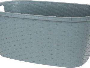Grijsgroene wasmand 35 liter 60 x 40 x 25 cm - Kunststof/plastic draagmand - De was doen huishoudartikelen - Wasmanden/wasgoedmanden