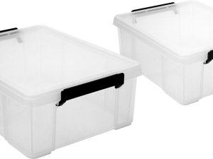 Iris Ohyama Multi Box Opbergbox - 18l - Kunststof - Transparant/Zwart - 2 stuks