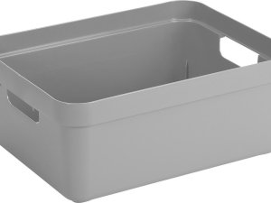 Lichtgrijze opbergboxen/opbergdozen/opbergmanden kunststof - 24 liter - opbergen manden/dozen/bakken - opbergers
