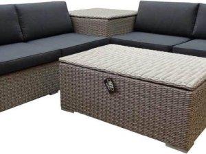 Saba hoek loungeset 4-delig met opbergboxen grijs
