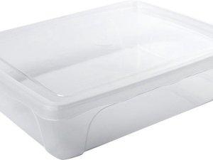 Voorraad/vershoudbakje laag 2 liter transparant plastic/kunststof - 24 x 20 x 6 cm - Vienna - Vershouddoos bakje - Mealprep - Maaltijden bewaren