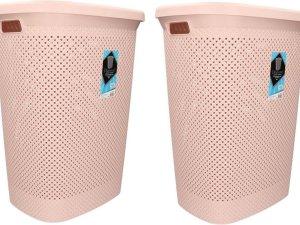 2x stuks wasmand met deksel oud roze 60 liter - Kunststof wasmanden - Huishoudelijke producten