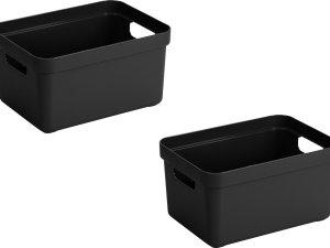 4x stuks zwarte opbergboxen/opbergdozen/opbergmanden kunststof - 13 liter - opbergen manden/dozen/bakken - opbergers