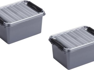 6x stuks sunware Q-Line opbergboxen/opbergdozen 2 liter 20 x 15 x 10 cm kunststof - Praktische opslagboxen - Opbergbakken