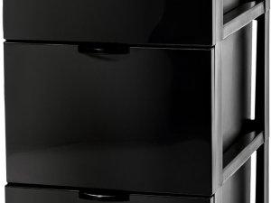 Iris Ohyama Style Chest Ladesysteem met 3 lades - 3 x 13 l - Kunststof - Antraciet - Met wieltjes