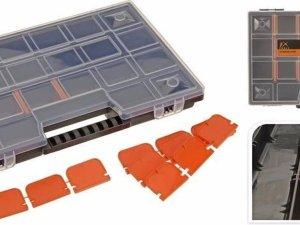 Opbergboxen/sorteerboxen zwart/oranje 39 cm
