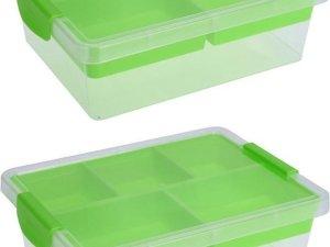 2x Groene opbergboxen/sorteerdozen met 5-vaks tray 33 cm - Huishouding - Klusmateriaal/hobbymateriaal/knutselmateriaal opbergen - Sorteerdozen/boxen - Opbergdozen/boxen