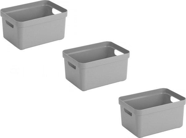 3x stuks lichtgrijze opbergboxen/opbergdozen/opbergmanden kunststof - 5 liter - opbergen manden/dozen/bakken - opbergers