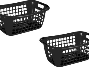3x stuks zwarte wasmanden/wasgoedmanden met handgrepen 65 cm - Draagwasmanden - Wasgoedmand - Mand met handgrepen