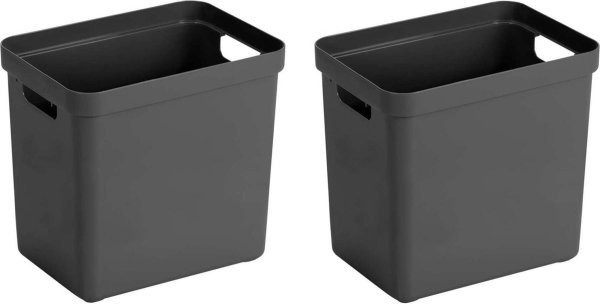 4x Antraciet grijze opbergboxen/opbergdozen/opbergmanden kunststof - 25 liter - opbergen manden/dozen/bakken - opbergers