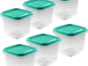 6x Voorraad/vershoudbakjes 0,3 liter transparant/groen plastic/kunststof - 9 x 9 x 11 cm - Palermo - Vershouddoos bakje - Mealprep - Maaltijden bewaren