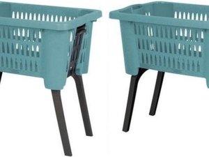 Set van 2x stuks grijsgroene kunststof wasmanden op poten 38 liter - Wasmanden/wasgoedmanden - Huishoudelijke producten/artikelen - Huishouden