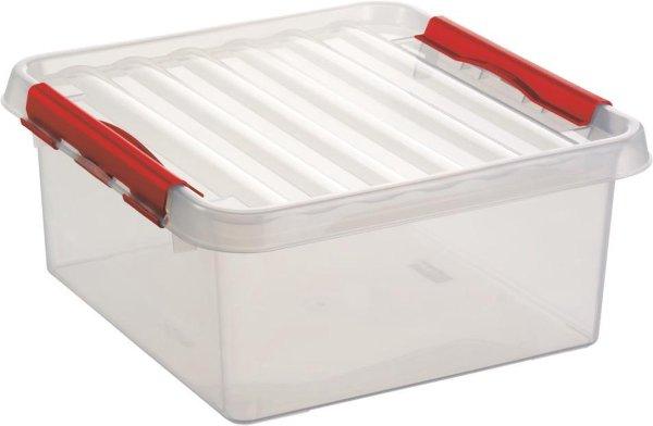 Sunware Q-Line Opbergbox - 18L - Kunststof - Transparant/Rood
