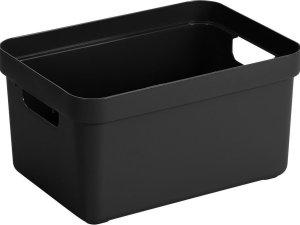 3x stuks zwarte opbergboxen/opbergdozen/opbergmanden kunststof - 5 liter - opbergen manden/dozen/bakken - opbergers