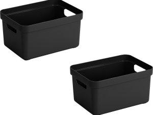 5x stuks zwarte opbergboxen/opbergdozen/opbergmanden kunststof - 5 liter - opbergen manden/dozen/bakken - opbergers