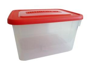 Allibert opbergbox transp.+rood 12 liter