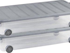 Curver Scotti onder het bed opbergbox - 35L - 2 stuks - transparant/steel