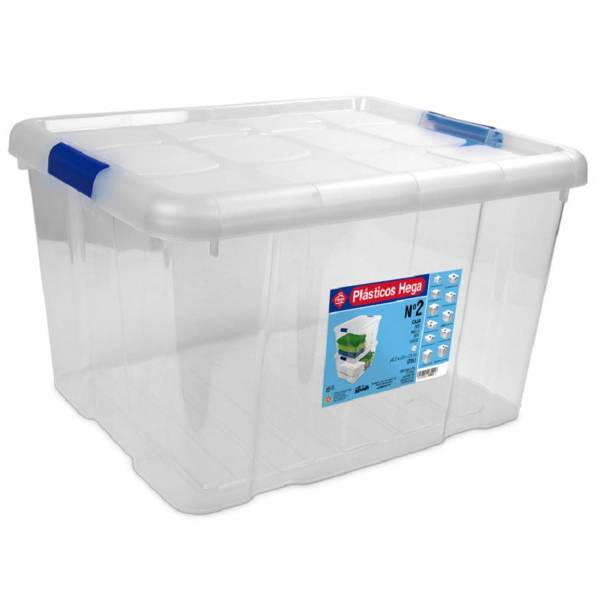1x Opbergboxen/opbergdozen Met Deksel 25 Liter Kunststof Transparant/blauw - 42 X 35 X 25 Cm - Opbergbakken